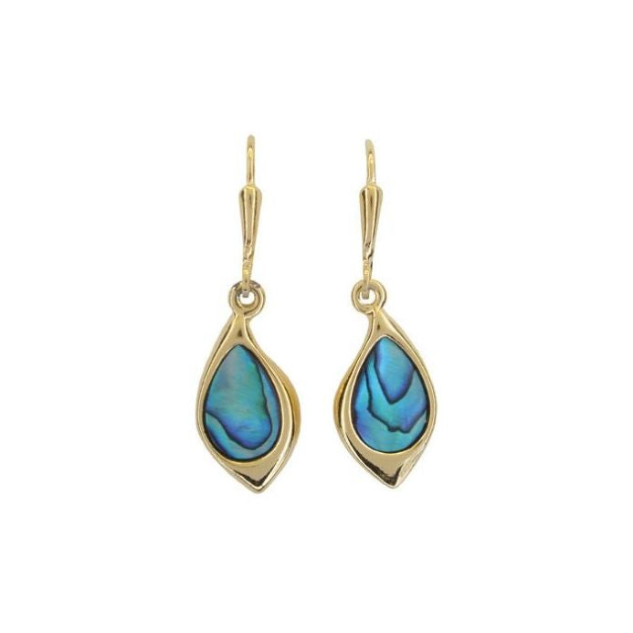 PAUA - EARRING GOLD PLATED LEAF PE488.