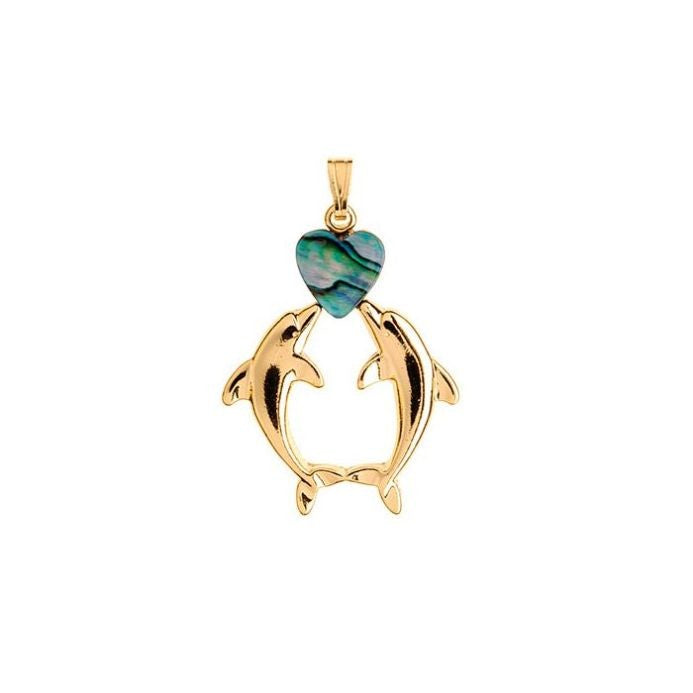 PAUA - PENDANT GOLD PLATED KISSING DOLPHIN GP562.