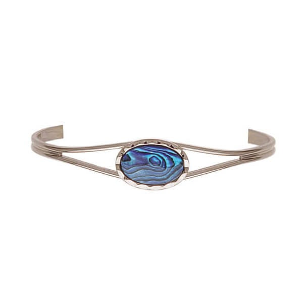 PAUA - BANGLE PALLADIUM PLATED SMALL SCALLOPED OVAL PB910.