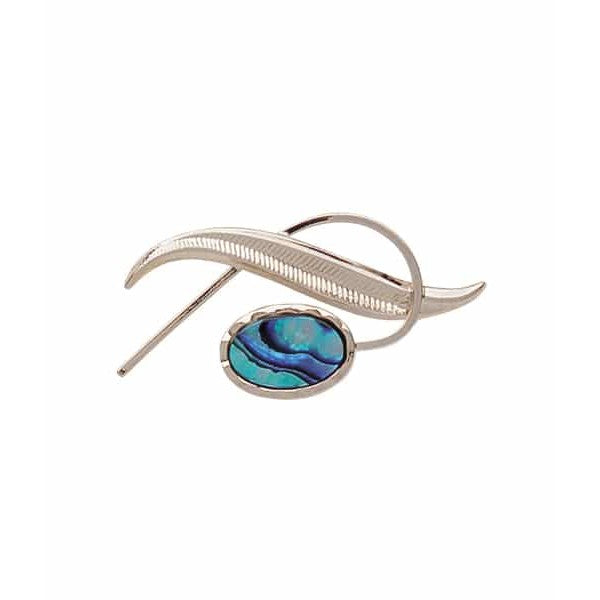 PAUA - BROOCH PALLADIUM PLATED FERN PO600.