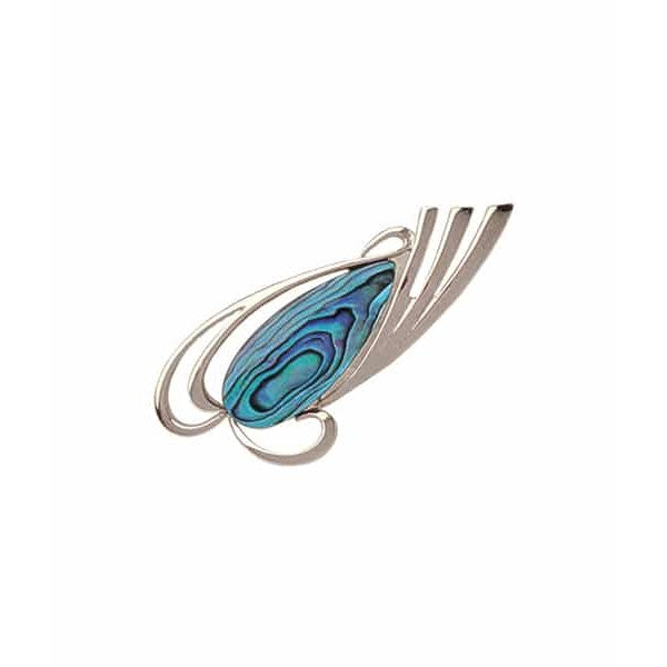 PAUA - BROOCH PALLADIUM PLATED FEATHERS PO706.