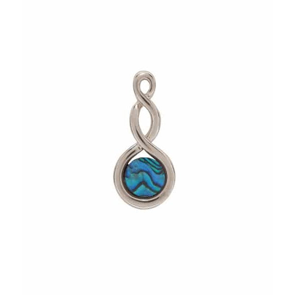 PAUA - PENDANT PALLADIUM PLATED DOUBLE TWIST PO884.