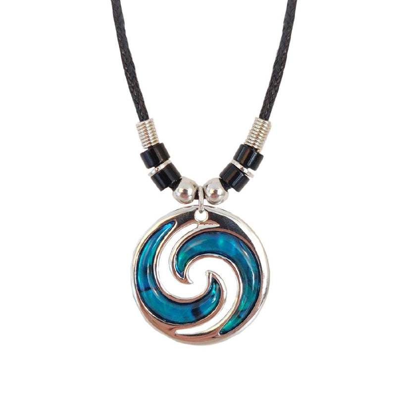 PAUA - DOUBLE KORU DEADED CHOKER BLUE MOP113.