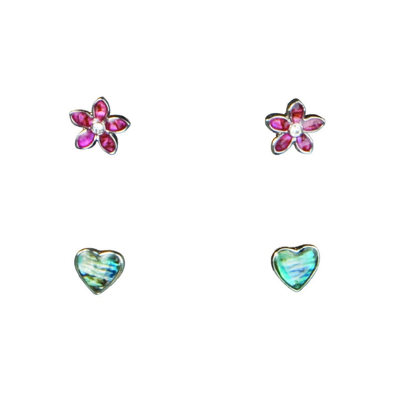 PAUA - PINK FLOWER BLUE HEART ER MOE92.