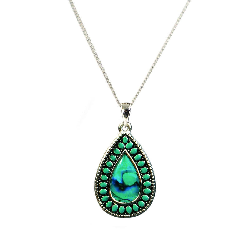 PAUA - TURQ BLACK CENTER TEARDROP PENDANT PJS131.