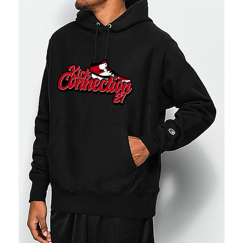 Black Kickconnection21 Hoodie with Red Logo