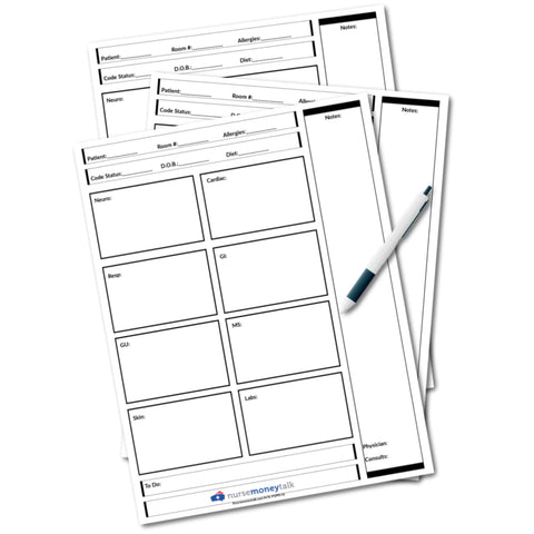 Nurse Report Sheet (Portrait Style - 1 Patient Per Sheet)