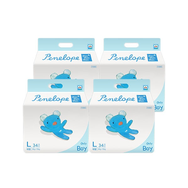 Penelope Thin Thin Thin Plus Nappy Pants L [8kg~12kg][Boy][34pcs x 4pack] - Babyhouse Australia