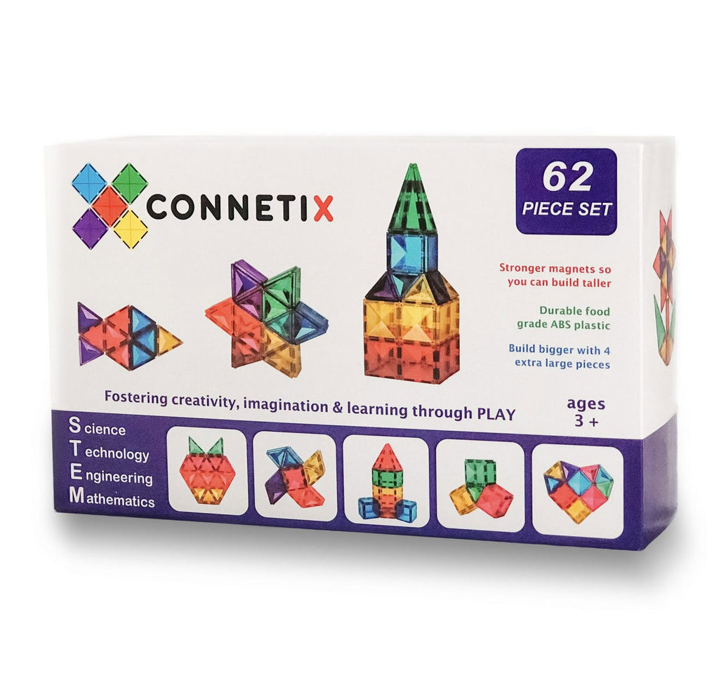 Connetix Tiles 62 Piece Set-comprises 4 large tiles, making building BIG even easier! - Babyhouse Australia