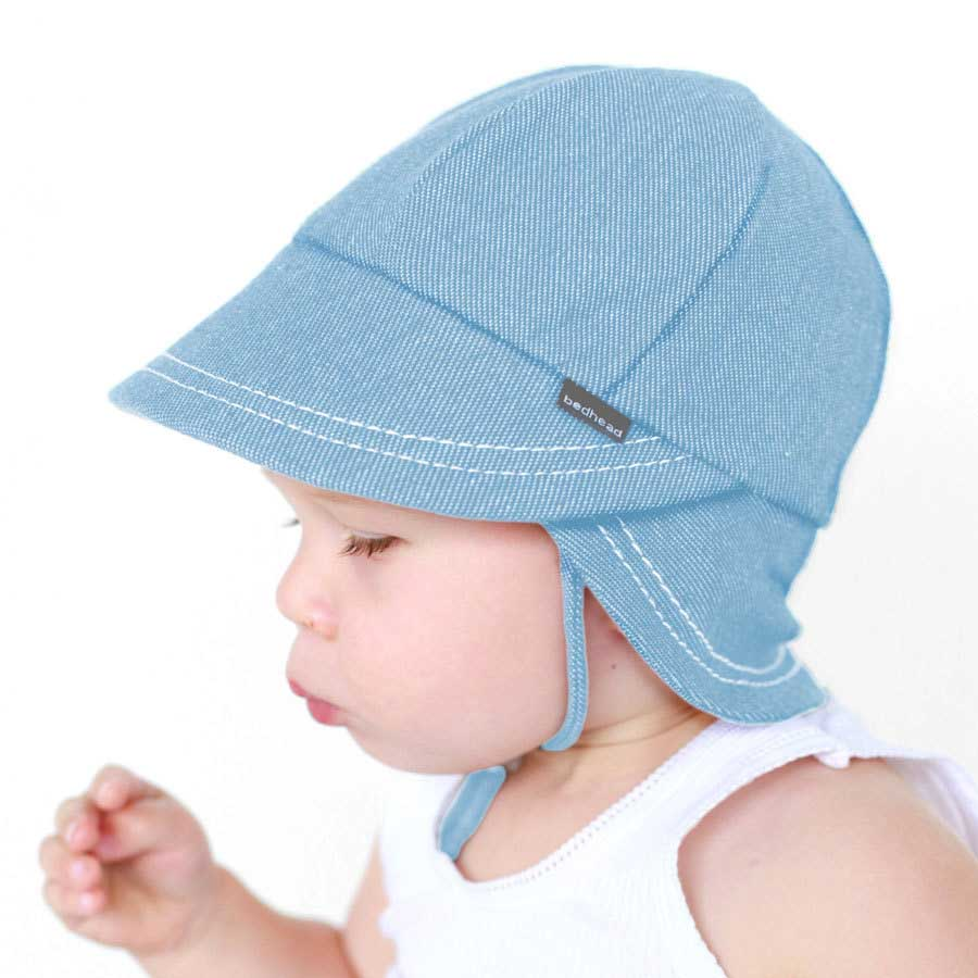 Bedhead Legionnaire Hat with Strap - Chambray - Babyhouse Australia