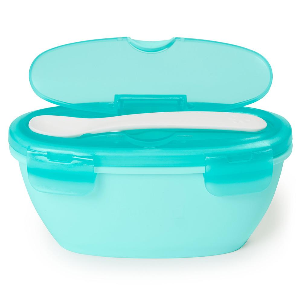 SKIP HOP EASY SERVE TRAVEL BOWL AND SPOON - SOFT TEAL - Babyhouse Australia
