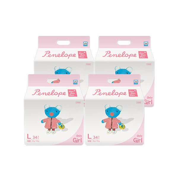 Penelope Thin Thin Thin Plus Nappy Pants L [8kg~12kg][Girl][34pcs x 4pack] - Babyhouse Australia