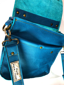 Raw Leather Satchel Small in Teal