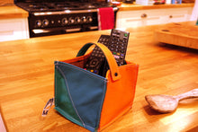 Load image into Gallery viewer, Leather Tidy Limited Edition Teal, Green & Orange small