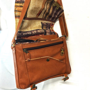 Upcycled Small leather shoulder bag