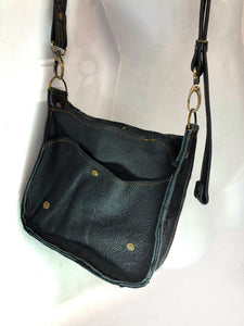 Raw Leather Satchel Small in Black