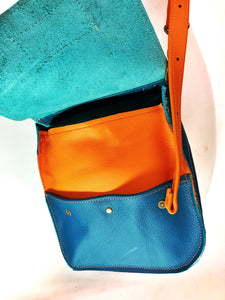 Raw Leather Satchel Small Teal & Jaffa Orange