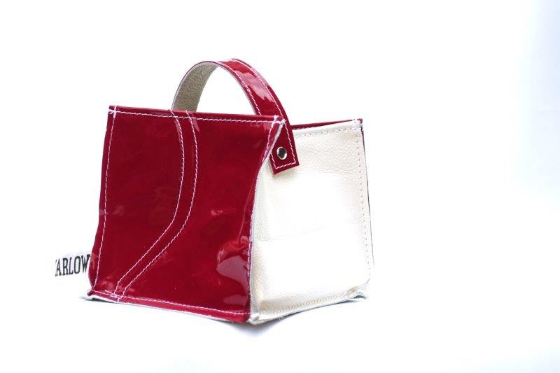 Leather Tidy Limited Edition Patent Red leather & white small