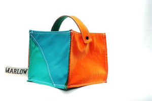 Leather Tidy Limited Edition Teal, Green & Orange small