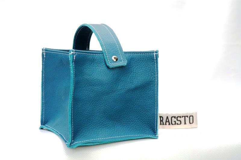 Leather Tidy Blue Teal small