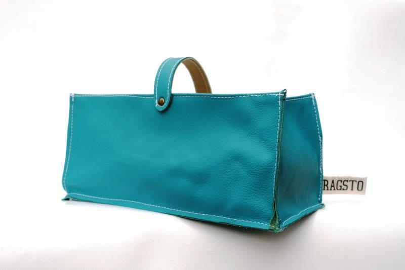 Leather Tidy Green Teal large