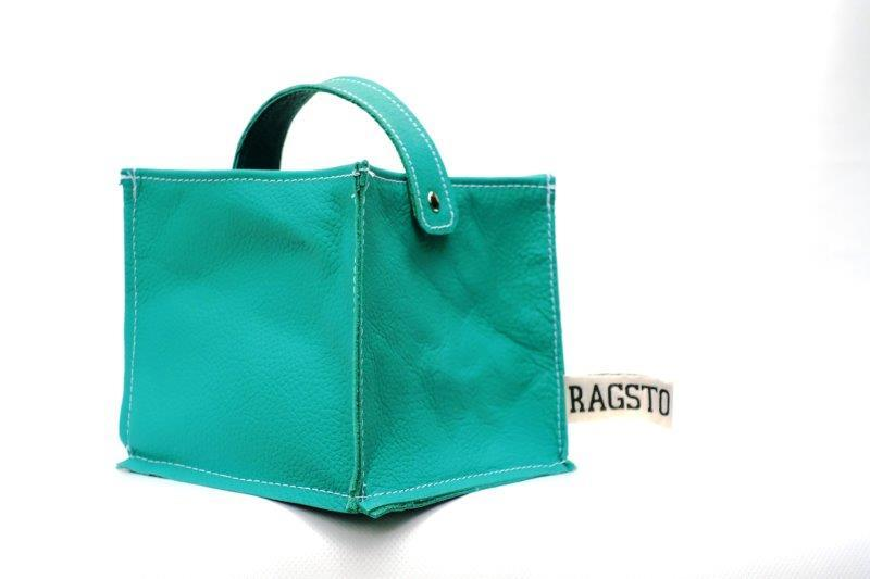 Leather Tidy Green Teal small