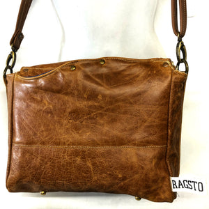 Distressed tan satchel with Antique map lining