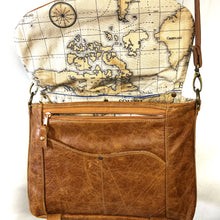 Load image into Gallery viewer, Distressed tan satchel with Antique map lining