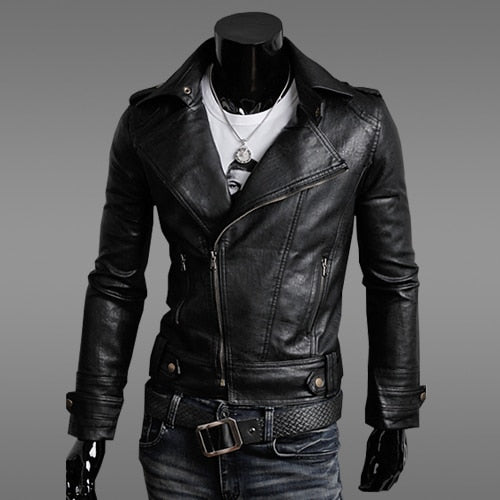 Men's Fashion Motorcycle Leather Jacket Spring and Autumn New Solid Color Black Brown Men's Collar Leather Slim Men 2XL