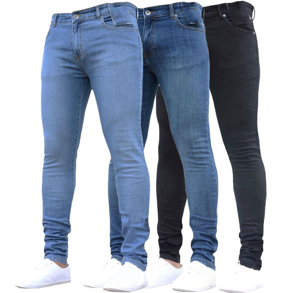 Skinny Jeans Men Pure Color Denim Cotton Vintage Wash Hip Hop Work Trousers Pants S-4XL Plus Size Winter Autumn jeans homme