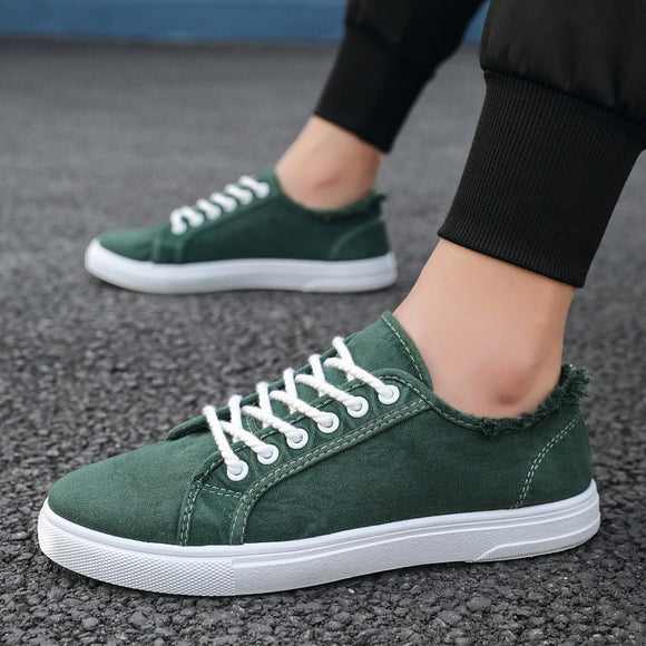 Casual Shoes Men Cotton Canvas Shoes Lace-Up Men Casual Walking Shoes New Plimsolls Male Footwear Autumn Breathable Sneakers Men