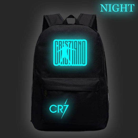 Cristiano Ronaldo CR7 Luminous backpack Students Boys Girls Bags fashion Night glow schoolbag Teens Daily Backpack for kids teen