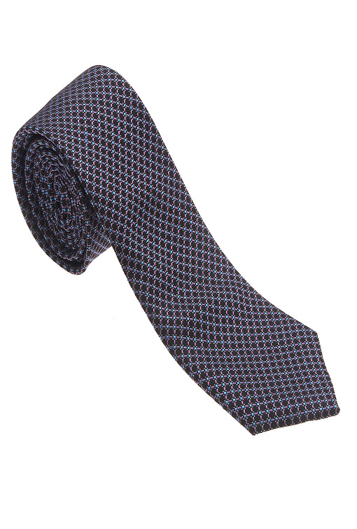 Black with Pink & Blue 100% Woven Silk Necktie