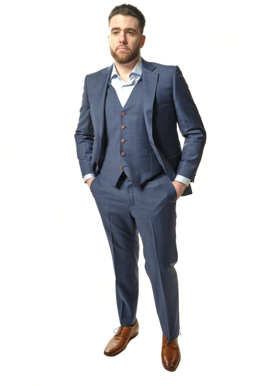 3 Piece Classic Fit Blue Windowpane Suit