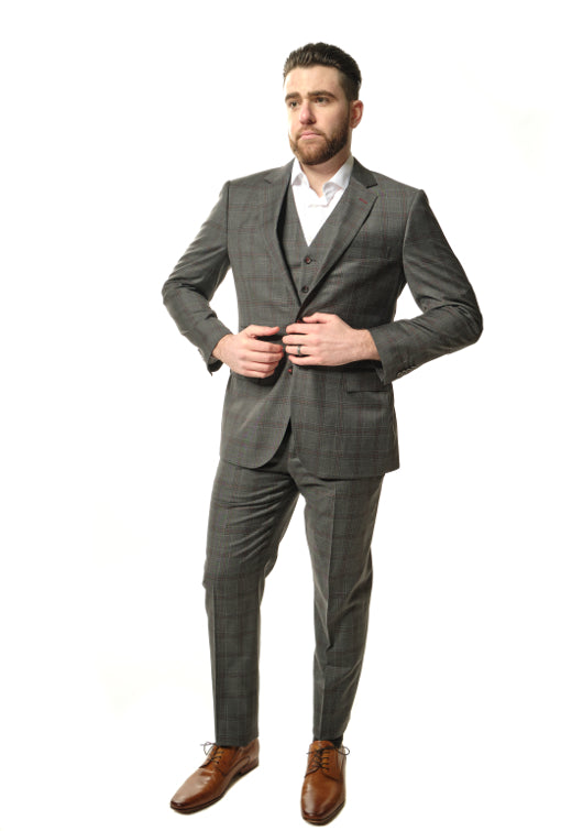 3 Piece Modern Fit Dark Grey Plaid Suit