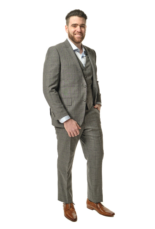 3 Piece Classic Fit Grey Plaid Suit