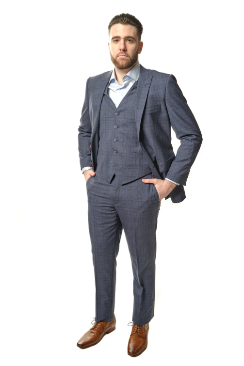 3 Piece Modern Fit Grey Plaid Suit