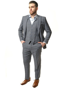 3 Piece Classic Fit Grey Windowpane Suit