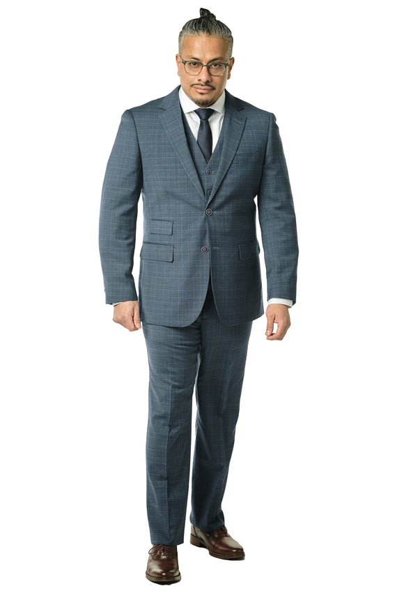 3 Piece Modern Fit Blue Check Suit