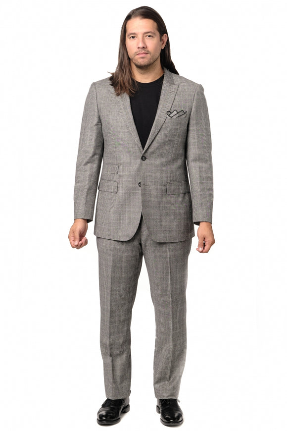Modern Fit Grey Check Cashmere Suit