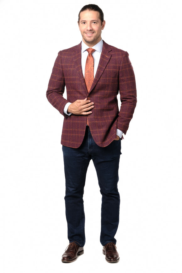 Burgundy Herringbone Check Modern Fit Sport Jacket