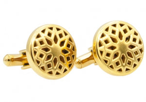 Gold Plated Circle Cufflinks