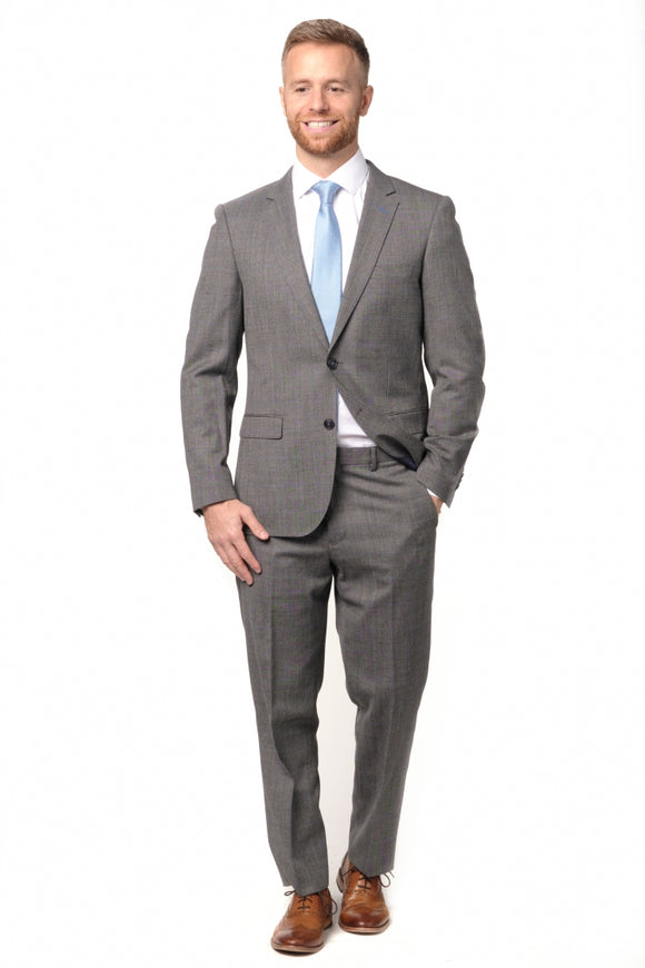 Slim Fit Grey Blue Windowpane Suit