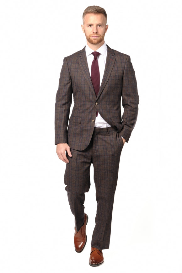 Slim Fit Brown Check Suit