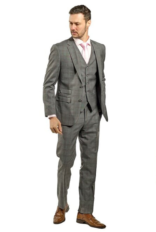 3 Piece Slim Fit Grey Plaid Suit