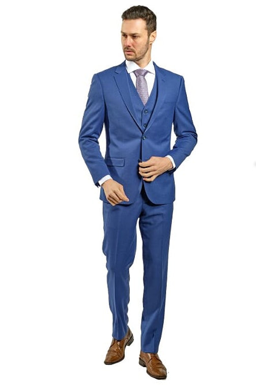 3 Piece Slim Fit Royal Blue Suit