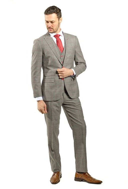 3 Piece Slim Fit Lite Brown Plaid Suit With Red Detail