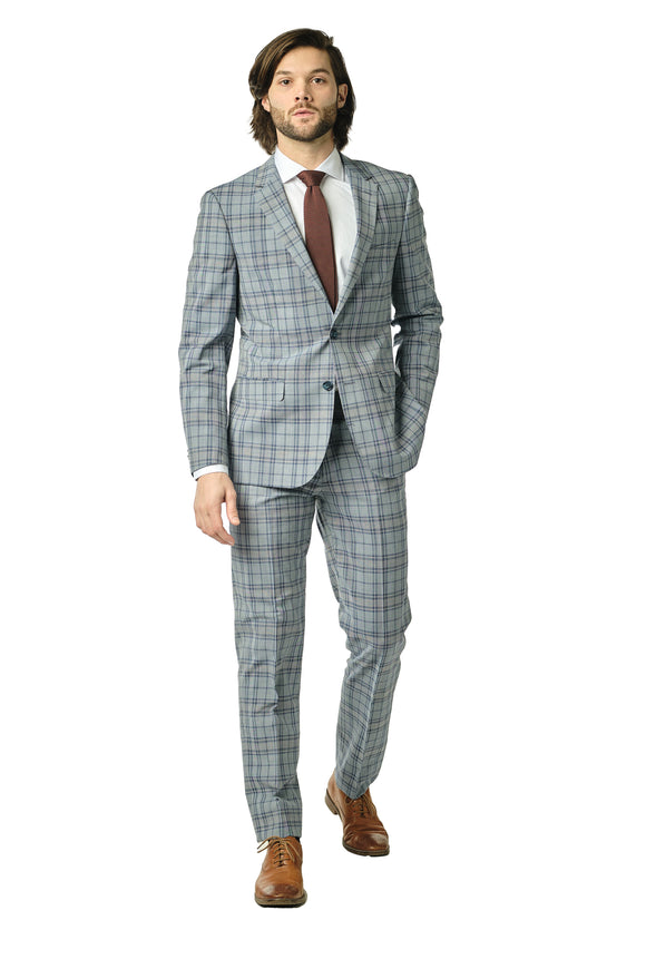 Slim Fit Blue Check Suit