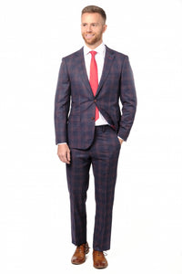 Slim Fit Blue & Red Check Suit