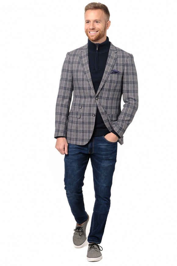 Grey & Blue Check Slim Fit Sport Jacket